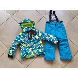 Теплый зимний мембранный комплект Valianly цвет Green Blue Geometry.