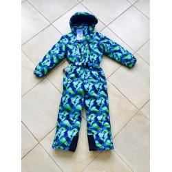 Зимний слитный мембранный комбинезон Kalborn Сине-Зеленые Волны (Green Blue Waves)