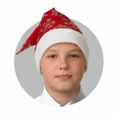 Колпак Новогодний Красный со снежинками, сатин 100-3