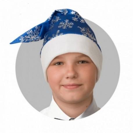 Колпак Новогодний Синий со снежинками, сатин 100-4