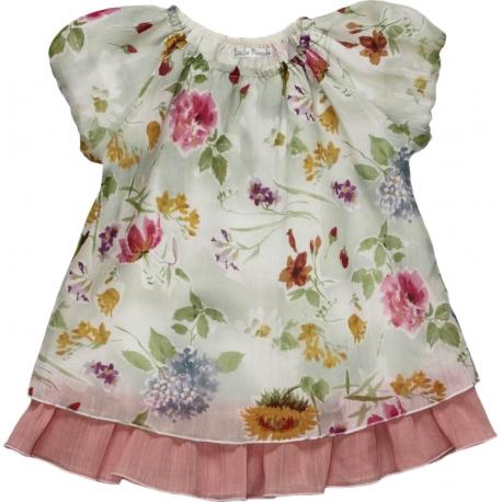 Платье с крупными акварельными цветами